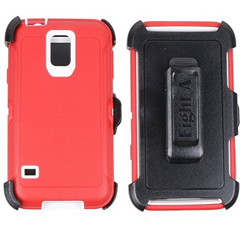 (Heavy Duty Defender Impact Rugged with Built-in Screen Protector Case Cover with Clip for Samsung Galaxy S5(Red))