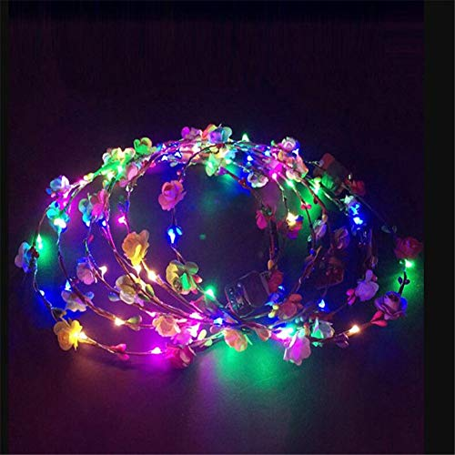 10 Pcs Crown Flower Headbands, LED Light Up Hair Wreath Hairband Garlands, Women Halloween Christmas Glowing Wreath,LED Flashing Light Up Glow Hairbands, Kids Girls Party Costume Blinking Head Buckle