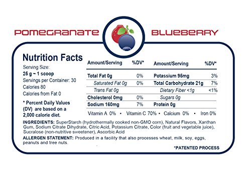 Generation UCAN SuperStarch ® Energy Drink Mix Tub, Pomegranate Blueberry, No Added Sugar, Gluten-Free, Vegan, 26.5 Ounces, 30 Servings