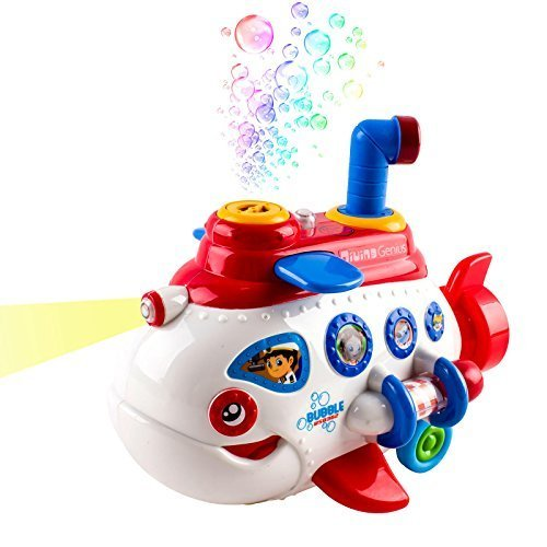 Bubble Boat Battery Operated Toy Submarine w/ Lights & Music (White -