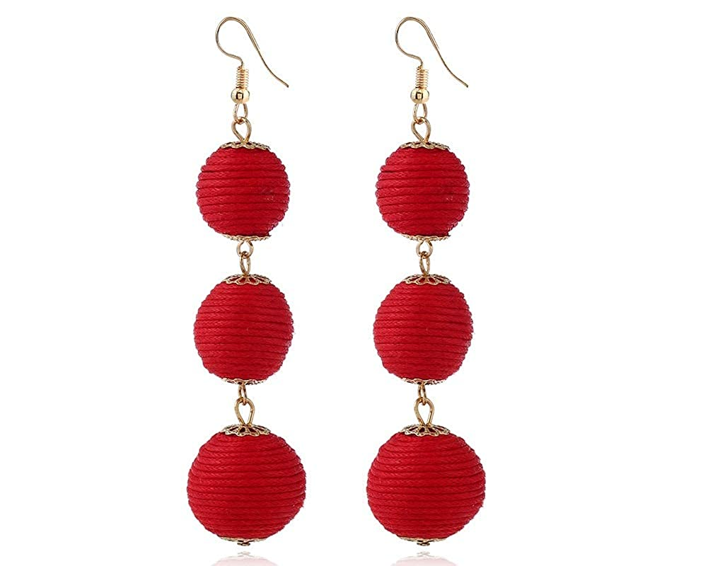 Thread Ball Dangle Earrings Thread Dangle Earring Drop Earrings Beaded Ball Ear Drop