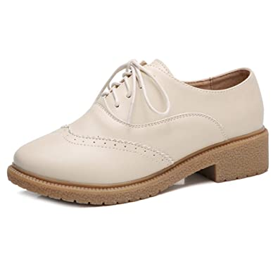 261de4538c9 GIY Women s Classic Wingtip Oxford Shoes Vintage Brogues Lace-up Flat Low  Heel Casual Dress