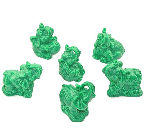 Feng Shui Set of 6 Jade Green Elephant Statues Wealth Lucky Figurines Decor G16422 We Pay Your Sales Tax