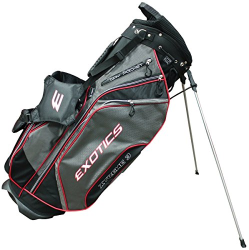 (Tour Edge Men's Exotics Xtreme3 Stand Bag, Black/Charcoal/Red)