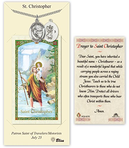 Pewter Saint Christopher Ice Hockey Medal with Laminated Holy Prayer Card