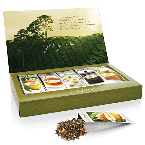Tea Forté SINGLE STEEPS Classic Sampler Loose Leaf Tea Sampler, Assorted Variety Tea Box, 15 Single Serve Pouches – Green Tea, Herbal Tea, Black Tea