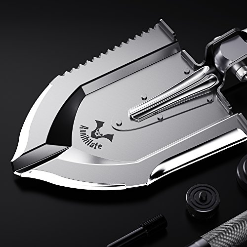 Zune Lotoo Annihilate Tactical Folding Survival Multi function Shovel, Metal Plate, For Camping Hiking Fishing Gardening Car Emergency