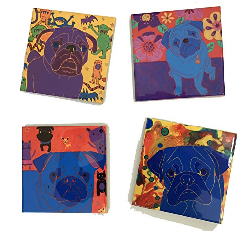 Pug Ceramic Tile Coaster Set, Pug Gift Home Decor by Angela Bond