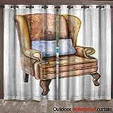 BlountDecor Home Patio Outdoor Curtain Watercolor Armchair of Sherlock Holmes Waterproof CurtainW120 x