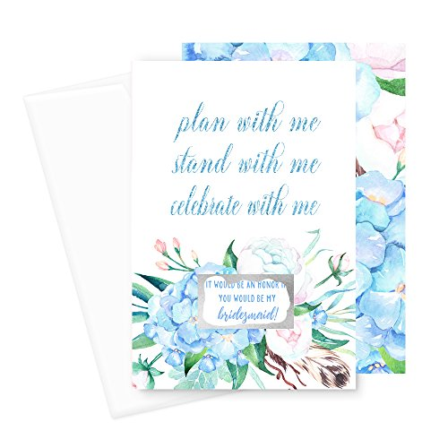 Blue Floral Will You Be My Bridesmaid Scratch Off Cards (6 Pack) Wedding Plan With Me Maid of Honor (Bridesmaid Wedding Greeting Card)