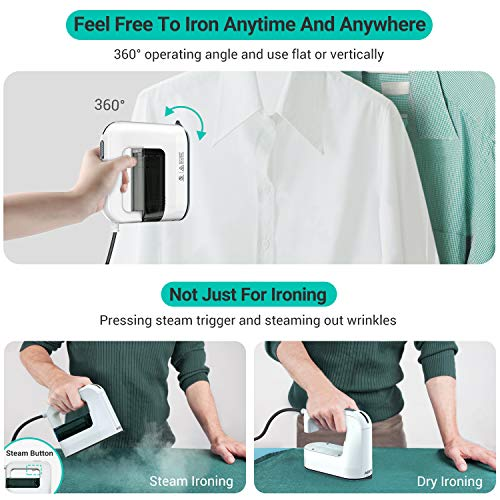 ABOX Garment Steamer, Steamer for Clothes, 1300W Steam Iron, Handheld Steamer with Removable Water Tank, Travel Steamer with 40s Fast Preheating