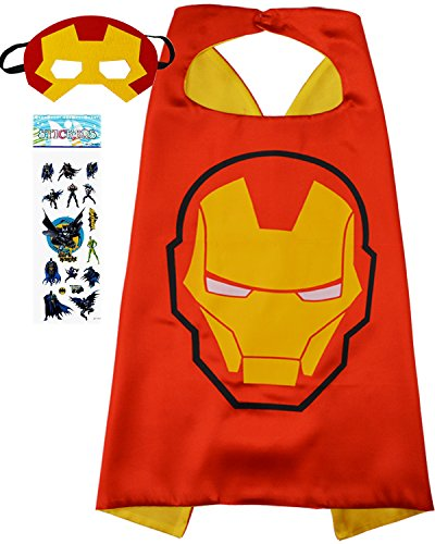 Superhero Costume and Dress up for Kids - Satin Cape and Felt Mask (Iron Man) ()