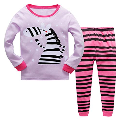 Qzrnly Girls Pajamas Kids Toddler Girl Clothes Mermaid Pjs Set Toddler Clothes Flamingo Sleepwear Purple/Zebra ()