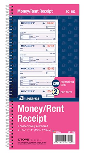 Adams Money and Rent Receipt Book, 2-Part Carbonless, 5 1/4 x 11 Inch Detached, Spiral Bound, 200 Sets per Book - 2 Book Side