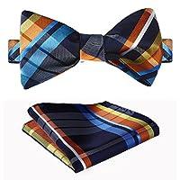 SetSense Men's Check Jacquard Wedding Party Self Bow Tie Pocket Square Set