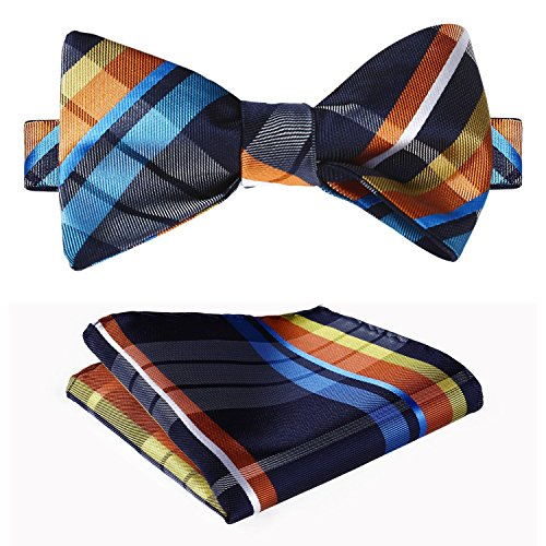 SetSense Men's Check Jacquard Wedding Party Self Bow Tie Pocket Square Set