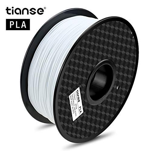 TIANSE White PLA 3D Printer Filament, 1.75mm Diameter Tolerance +/- 0.03 mm, 2.2lb Spool