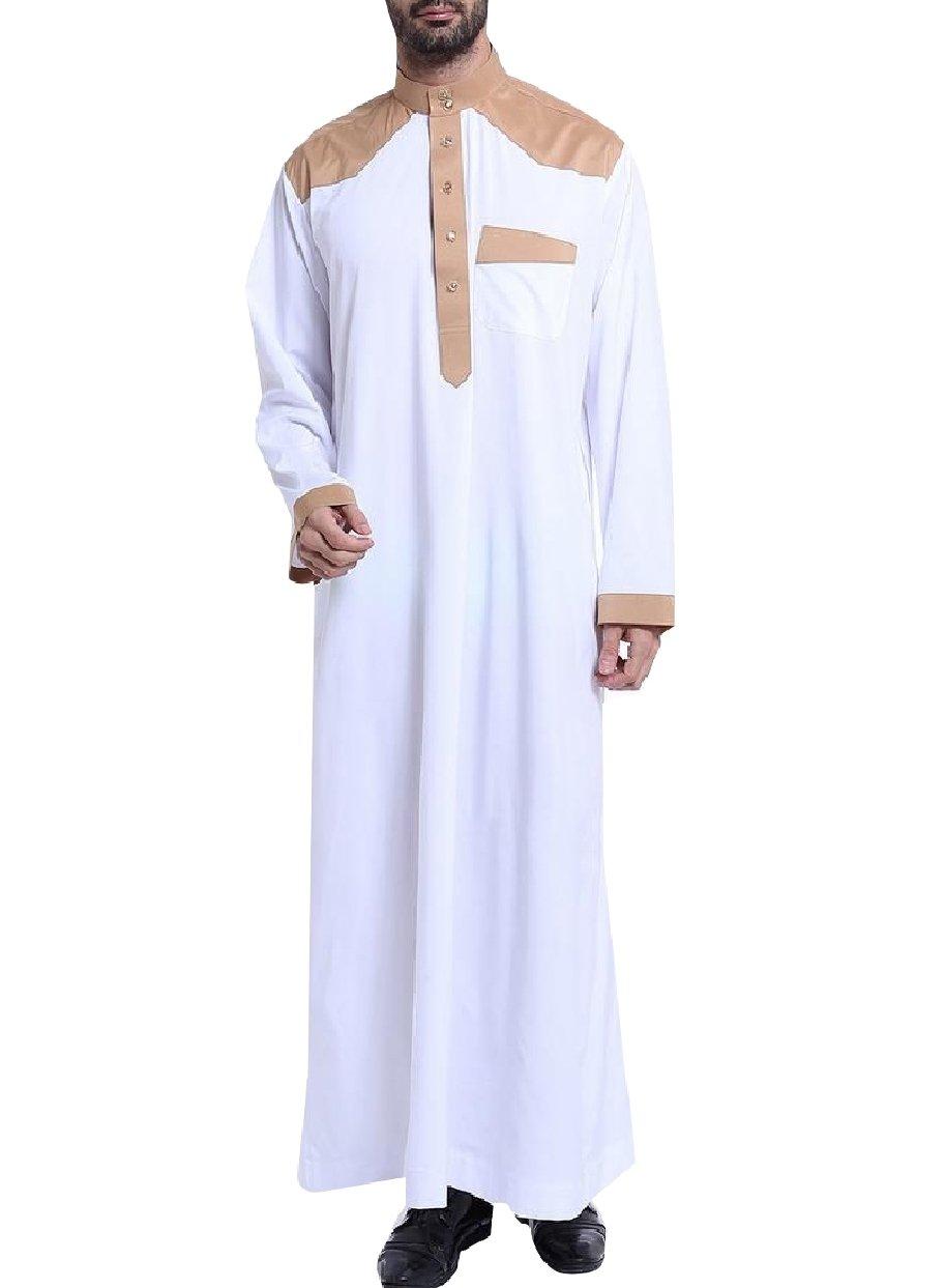 SportsX Men Long-Sleeve Saudi Arabia Mock Neck Button Arab Muslim Thobe White XL