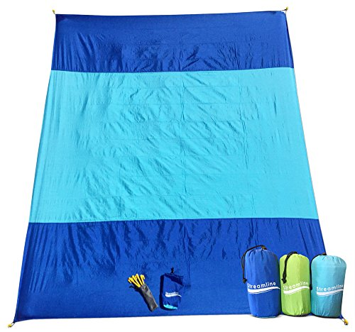 SAND-AWAY Sand Proof Outdoor Compact Beach Blanket (20% Bigger 9 x 7 ft) Oversized Beach, Picnic Blanket/ Beach Mat (INCLUDES 4 FREE STAKES!) Great for the Beach, Picnic, Camping, Hiking - XXL (royal)