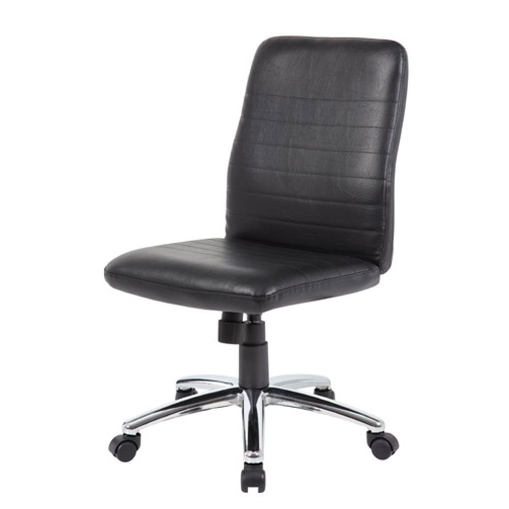 Armless Retro Task Chair in Vinyl Black Vinyl/Chrome Base Dimensions: 27''W x 25''D x 37-40''H Seat Dimensions: 19.5''Wx17''Dx18.5-22''H Back Dimensions: 19.5''Wx22''D