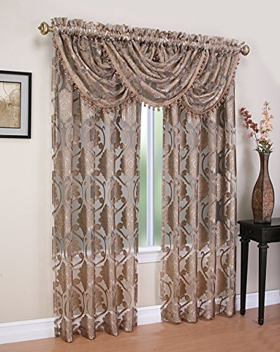 Milawi Sheer Jacquard Scroll Waterfall Valance, 57 by 37-Inch, Brown For Sale