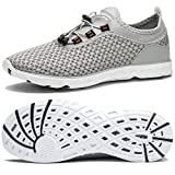 TIANYUQI Women's Mesh Slip On Water Shoes,Gray,41EU/10.5US