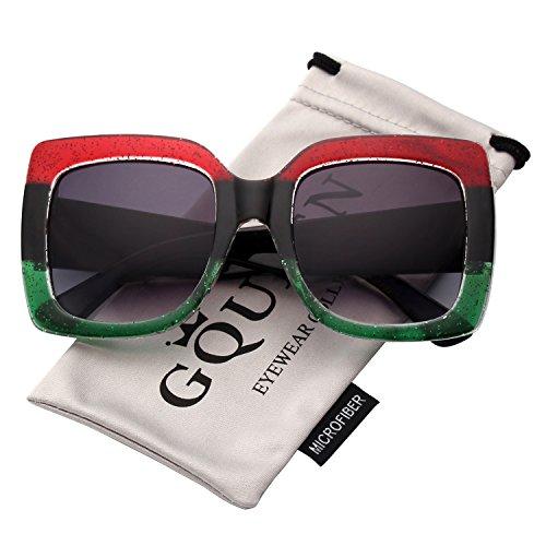 - GQUEEN Women Oversized Square Frame Sunglasses Multiple Tinted Glitter Designer Inspired Stylish Shades S904
