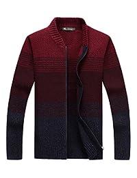 fanhang Men's Slim Fit Zip Up Casual Cardigan Sweater Knitwear