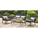This Square 4-piece Patio Set Is Designed for Maximum Lumbar Support and Durability. This Outdoor Table and Chairs Have Frames Made with Powder-coated Steel. Oversized Cushions Are Perfect for Any Deck or Pool Side!