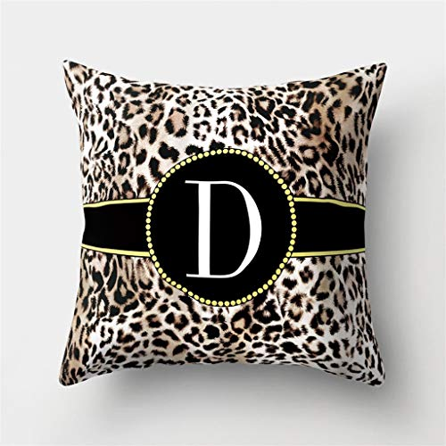 Throw Pillow Covers, Leopard English Alphabet (A-Z) Print Pillow Case Cushion Cover Home Decor 18