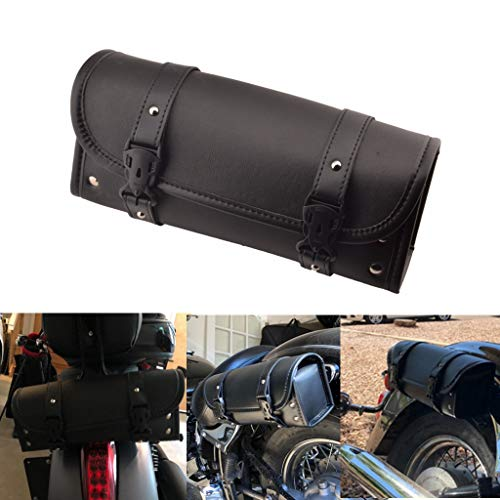 Goldfire Waterproof Motorbike Handlebar Bag PU Leather Saddlebag Front Rear Storage Tool Pouch with 2 Straps for Honda Yamaha Kawasaki Suzuki Ducati KTM Harley Davidson Sportster (Black)