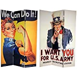 ORIENTAL FURNITURE 6 ft. Tall Double Sided WWII Posters Room Divider