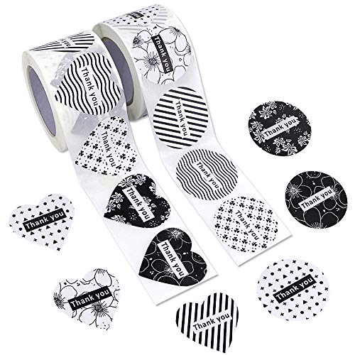 JPSOR Thank You Stickers, 1.5inch Assorted Heart and Round Shape Adhesive Label Stickers for Baby Shower, Wedding, Birthday, Party (2 Rolls, 600ct) (600)