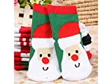 Gelaiken World Christmas 6 Pairs Children Cotton Socks Kids Autumn and Winter Santa Claus Patterns Terry Mid Tube Socks (Multicolor)