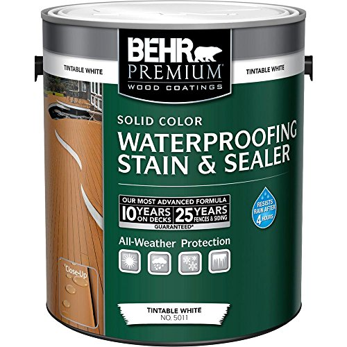 BEHR Premium 1 gal. White Base Solid Color Waterproofing Stain and Sealer ()