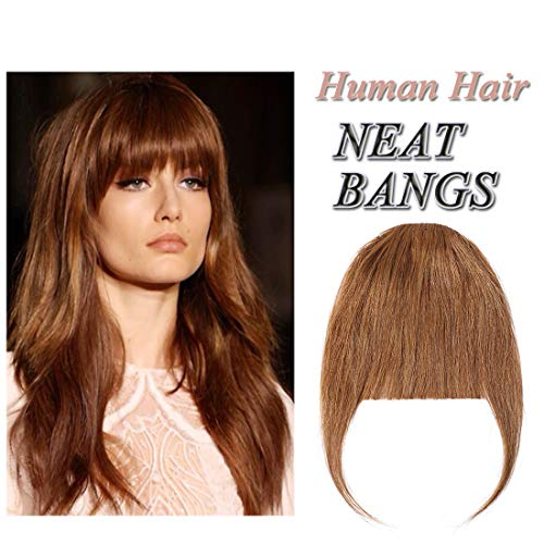 Clip in Human Hair Fringe with Temple Front Neat Bangs Hair Extension Thick Full Tied Bangs Flat Fringe Hair Piece for Women One Piece #06 Light Brown
