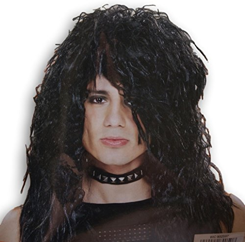 Rocker Zombie Adult Wig (Adult Halloween Costume - Black Mullet Rocker Wig)