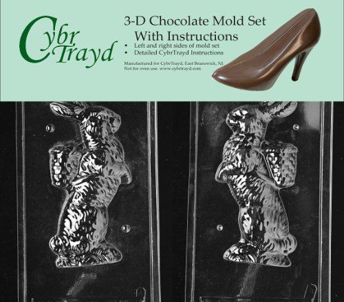 Cybrtrayd E301AB Bunny, Basket on Back Chocolate Candy Mold Bundle with 2 Molds and Exclusive Cybrtrayd Copyrighted 3D Chocolate Molding Instructions