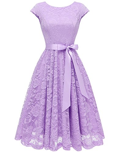 BeryLove Women's Floral Lace Short Bridesmaid Dress Cap Sleeve Cocktail Party Dress BLP7016Lavender M