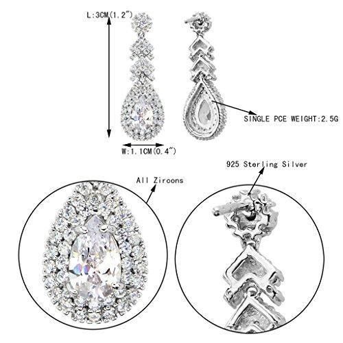 EVER FAITH® - Sympathique - Boucle d'Oreilles Argent 925 Cubic Zirconia Poire Clair Plaqué Rhodium