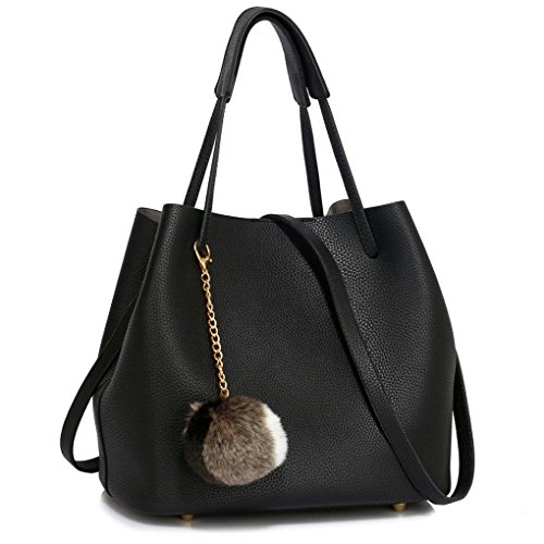 Charm Work For Shoulder Bags 190 Leather With College black Faux Charm Poom Women's Faux Women Leahward fur Hobo Tote School Bag qw1AYW