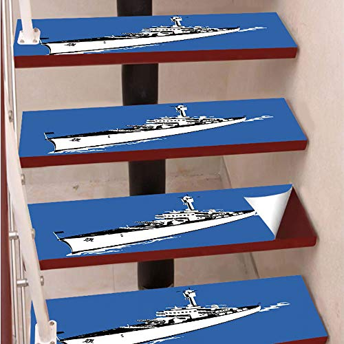 3D Print Non-Slip PVC Stair Pads,Self-Adhesive Steps Sticker,Staircase Treads Protector,Navy Force War Ship Boat Sealife Ocean Themed Animation like Image,for Home Decoration(9.8X39 inch) Set of 5PCS, (Warship Set Boat)
