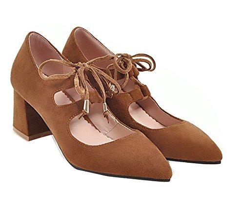 Scarpe Marrone Medio Puro Tacco A Velluto VogueZone009 Flats Donna Punta Ballet wxqOHvEv