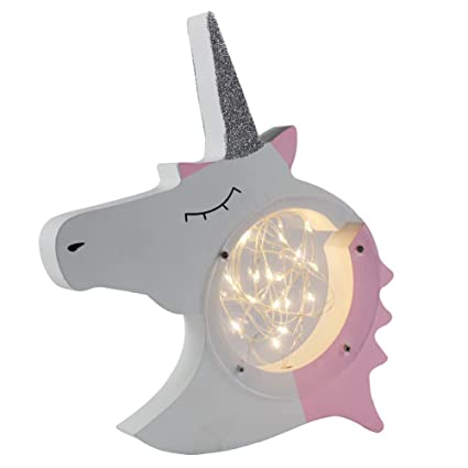 DELICORE Unicorn Head Light Up LED Bedroom Decoration, Lovely Wood  Decorative Signs For Nursery Bedroom