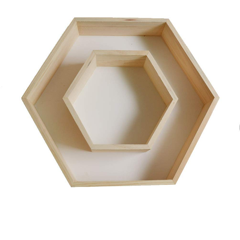 XYQS Creative Hexagonal Wall Shelf, Wooden Hand-Decorated Storage Box, Combination Set, for Living Room Bedroom Dormitory Wall Decoration (Color : White) by XYQS