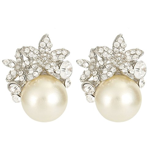 EVER FAITH Bridal Silver-Tone Flower Simulated Pearl Stud Earrings Austrian Crystal Clear - Clip-on -
