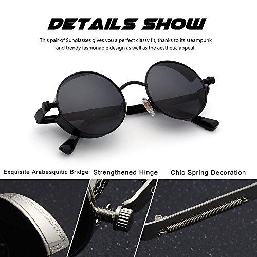 Argent personnelles de rondes lunettes UV400 steampunk Lunettes rétro Huateng Rouge polarisées soleil lunettes UxHFOZwqPn