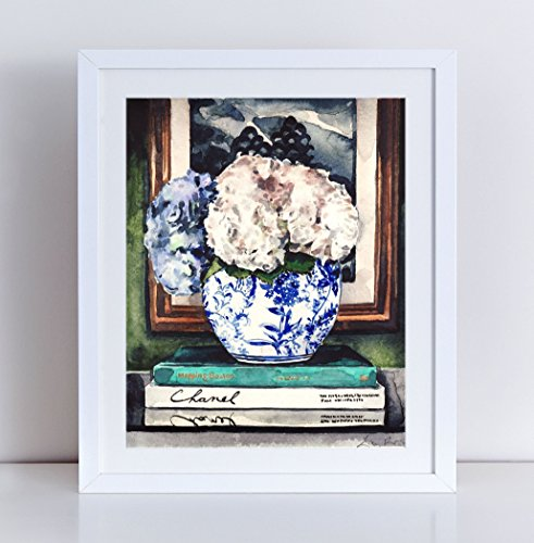 (Hydrangeas Art Blue White Ginger Jar Print Chinese Vase Print Asian Decor Chinoiserie Art Gift for Her Flowers Art Print Pretty Art Preppy Print Watercolor Painting Canvas Art Print Unframed)