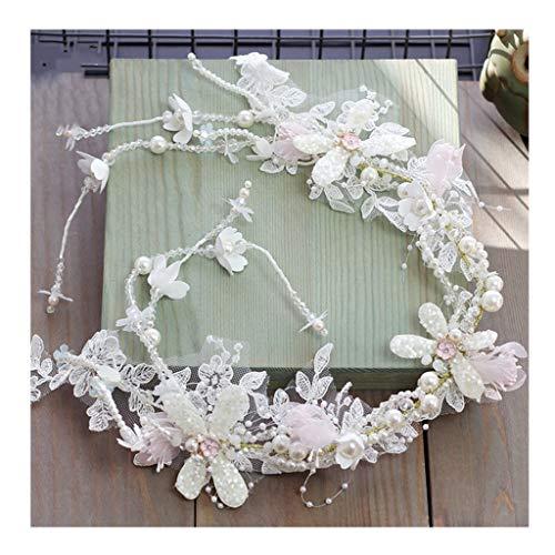 Wreath Flower Girl Headdress Handmade Beaded Lace White Tassel Hair Band Wedding Bridal Hair Accessories (Size : 76cm)