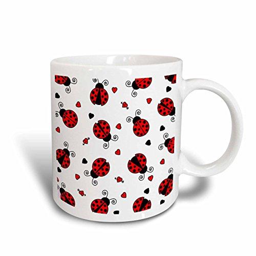 3dRose Love Bugs Red Ladybug Print with Hearts Ceramic Mug, 15-Ounce